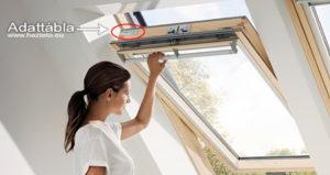 Tetőtéri ablak adathordozó, tetőablak adattábla