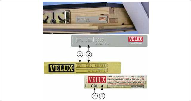 VELUX tetőablak adattáblái a kinyitott ablakszárny felső élén